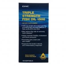 美国GNC三倍效力高浓缩深海鱼油 120粒  肠溶五倍纯净三倍浓度